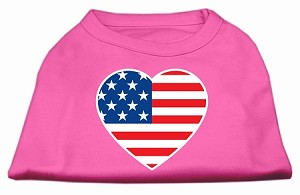 American Flag Heart Screen Print Shirt Bright Pink Lg (14)