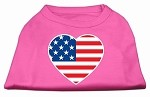 American Flag Heart Screen Print Shirt Bright Pink Med (12)