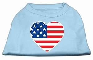 American Flag Heart Screen Print Shirt Baby Blue Med (12)