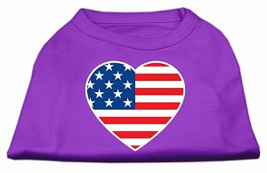 American Flag Heart Screen Print Shirt Purple Med (12)