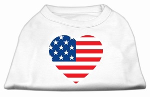 American Flag Heart Screen Print Shirt White XXL (18)