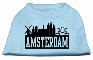 Amsterdam Skyline Screen Print Shirt Baby Blue XXL (18)