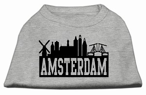 Amsterdam Skyline Screen Print Shirt Grey XXL (18)
