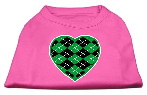 Argyle Heart Green Screen Print Shirt Bright Pink XXL (18)