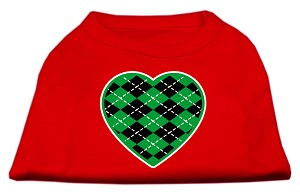 Argyle Heart Green Screen Print Shirt Red Med (12)