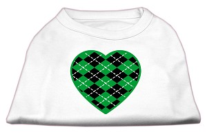 Argyle Heart Green Screen Print Shirt White S (10)