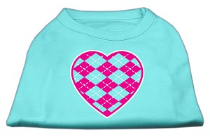 Argyle Heart Pink Screen Print Shirt Aqua XXL (18)