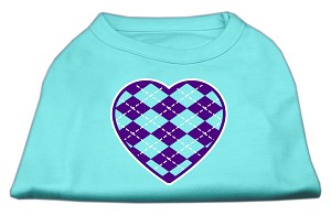 Argyle Heart Purple Screen Print Shirt Aqua XXXL (20)