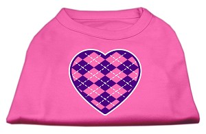 Argyle Heart Purple Screen Print Shirt Bright Pink XS (8)