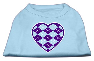 Argyle Heart Purple Screen Print Shirt Baby Blue XXL (18)