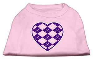 Argyle Heart Purple Screen Print Shirt Light Pink Lg (14)