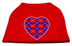Argyle Heart Purple Screen Print Shirt Red Lg (14)