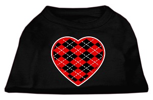 Argyle Heart Red Screen Print Shirt Black Lg (14)