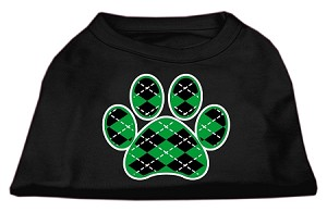 Argyle Paw Green Screen Print Shirt Black XXL (18)