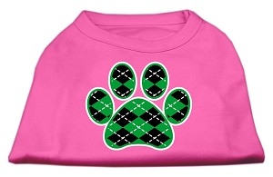 Argyle Paw Green Screen Print Shirt Bright Pink Lg (14)