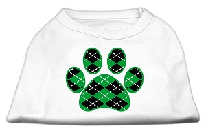 Argyle Paw Green Screen Print Shirt White XXL (18)