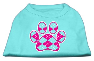 Argyle Paw Pink Screen Print Shirt Aqua XS (8)