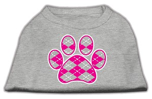 Argyle Paw Pink Screen Print Shirt Grey Sm (10)