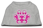 Argyle Paw Pink Screen Print Shirt Grey XS (8)