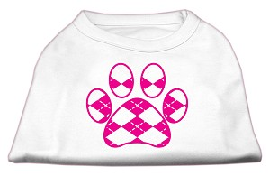 Argyle Paw Pink Screen Print Shirt White L (14)