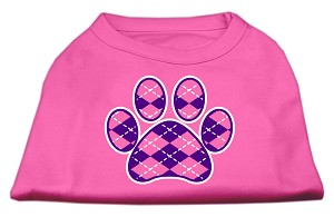 Argyle Paw Purple Screen Print Shirt Bright Pink Sm (10)