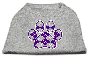 Argyle Paw Purple Screen Print Shirt Grey Med (12)