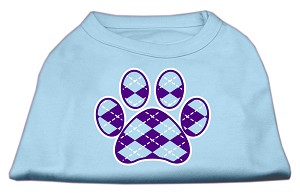 Argyle Paw Purple Screen Print Shirt Baby Blue XXL (18)
