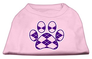 Argyle Paw Purple Screen Print Shirt Light Pink Sm (10)