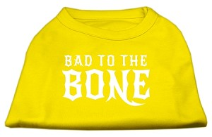 Bad to the Bone Dog Shirt Yellow Med (12)