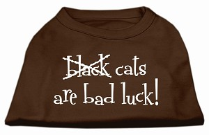 Black Cats are Bad Luck Screen Print Shirt Brown Lg (14)
