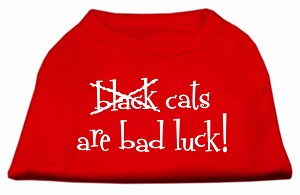 Black Cats are Bad Luck Screen Print Shirt Red XXL (18)