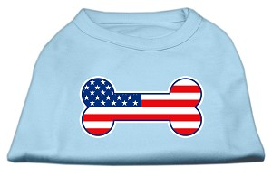 Bone Shaped American Flag Screen Print Shirts Baby Blue L (14)
