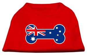 Bone Shaped Australian Flag Screen Print Shirts Red XS (8)