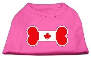 Bone Shaped Canadian Flag Screen Print Shirts Bright Pink L (14)