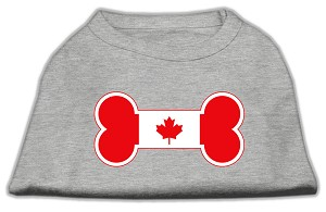 Bone Shaped Canadian Flag Screen Print Shirts Grey XXL (18)