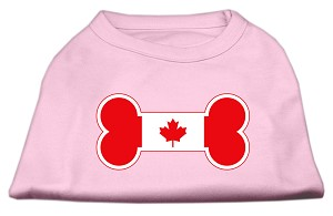 Bone Shaped Canadian Flag Screen Print Shirts Light Pink S (10)