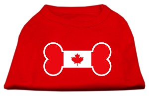Bone Shaped Canadian Flag Screen Print Shirts Red XXXL(20)