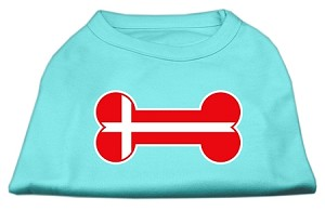 Bone Shaped Denmark Flag Screen Print Shirts Aqua L (14)