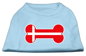 Bone Shaped Denmark Flag Screen Print Shirts Baby Blue M (12)