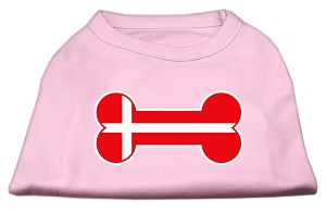 Bone Shaped Denmark Flag Screen Print Shirts Light Pink XXXL(20)