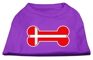 Bone Shaped Denmark Flag Screen Print Shirts Purple XXXL(20)