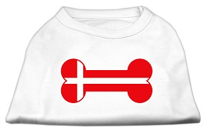 Bone Shaped Denmark Flag Screen Print Shirts White XXXL(20)