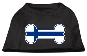 Bone Shaped Finland Flag Screen Print Shirts Black XL (16)