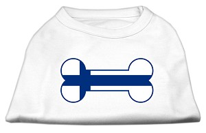 Bone Shaped Finland Flag Screen Print Shirts White M (12)