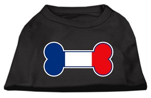 Bone Shaped France Flag Screen Print Shirts Black XXL (18)