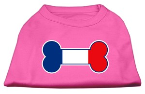 Bone Shaped France Flag Screen Print Shirts Bright Pink L (14)