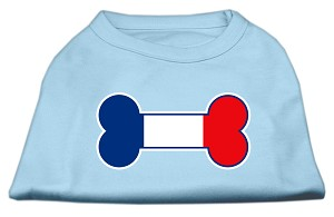 Bone Shaped France Flag Screen Print Shirts Baby Blue XXXL(20)