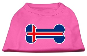 Bone Shaped Iceland Flag Screen Print Shirts Bright Pink L (14)