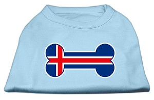 Bone Shaped Iceland Flag Screen Print Shirts Baby Blue XS (8)
