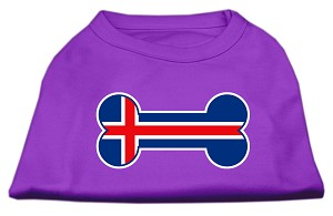 Bone Shaped Iceland Flag Screen Print Shirts Purple S (10)